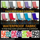 REVERSIBLE TULIP WATERPROOF FABRIC DINING CHAIR CUSHION FOLDING GARDEN FURNITURE