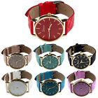 Unisex Casual Geneva Checkers Faux Leather Quartz Analog Wrist Watch Cheap