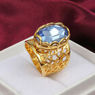 Sz 6-9 Noble Band 18K Gold Filled Sea Blue Sapphire Lady Women Wedding Ring Gift