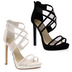 New Womens Strappy Mesh Ladies Peep Toe Zip Up High Heel Stiletto Shoes Size 3-7