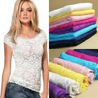 New Fashion Women Floral Lace Sexy Top Short Sleeve Blouse Crew Neck T-shirt M/L