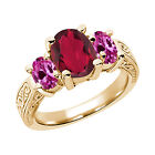 3.50 Ct Ruby Red Mystic Quartz Pink Created Sapphire  YG Plated Silver  Ring
