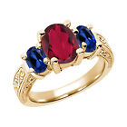 3.66 Ct Ruby Red Mystic Quartz Blue Created Sapphire  YG Plated Silver  Ring
