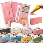 New Women Lady Vintage Matte Leather Slim Card Clutch Purse Wallet Handbag Bag