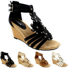 Womens Floral Diamante Low Wedge Heel Open Toe Roman Ankle Strap Sandals UK 3-9