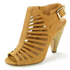 """Womens Peep Toe Pumps Shoes Sexy Cutout Ankle Buckle 4"""" Heel Boots Padded Insole"""
