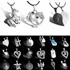 Stainless Steel NEW Stylish Symbol Pendant Leather Necklace Silver Heart Love