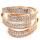 Rose Gold GP multi band stripe ribbon cubic swarovski crystal cocktail ring t539