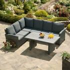 New-Grey Stockholm Rattan Outdoor Dining Collection With Sofa & Coffee Table