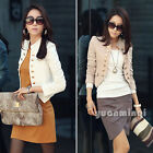 Fashion Women Long Sleeve Casual Button Short Jacket Coat Blazer Cardigan Suits