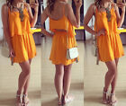 Women Summer Sexy Chiffon Two Pieces Set Dress Straps Tank Tops Beach Mini Skirt