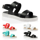 WOMENS BUCKLE STRAP LADIES PEEP TOE STRAPPY CLEATED FLATS SANDALS SHOES SIZE 3-8