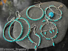 Hand crafted wire wrapped earrings turquoise blue glass beads 925 filled hook #4