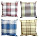 "Highland Check Cream Brown Stripes Weaved Woven Look 17"" x 17"" Cushion Cover"