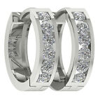 New VS1/F Natural 1.01Ct Diamond 14Kt White Gold Excellent Hoops Huggie Earrings