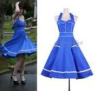 50S 60S Hepburn Vintage Party Swing Dress Blue Halter Polka Dot S-2XL  RD 3279