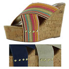Steve Madden Pride Women's Cork Wedges Slide Sandals Shoes