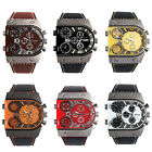 "Men""s Leather Strap Army Military 3 Time Zones Quartz Wrist Sport Watch Tide"