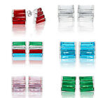 Unique Design Women Jewellery Gift Emerald Cut Rhinestone 18K Gp Stud Earrings