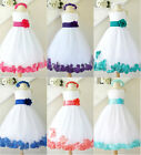 Gorgeous White purple fuchsia red coral blue  rosepetals flower girl party dress