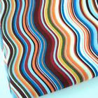 GREY / BURGUNDY - COLOURFUL WAVE STRIPE 100% COTTON FABRIC patchwork CRAFT