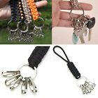 Outdoor Survival Keychain Parachute Cord Rope Knot Key Chain Ring Camp 11 colors
