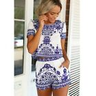Womens Blue and White Porcelain Short Sleeve Top Pantskirt Two Pieces NEW Y