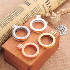 4PCs Hollow Floating Charms Living Memory Locket Round Jewelry Necklace Pendant