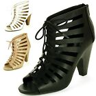 Womens Peep Toe High Heels Cutout Boots Lace Up Pumps Faux Leather Padded Shoes