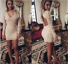 Fashion Women Lace Bodycon Long Sleeve Evening Sexy Party Cocktail Mini Dress