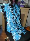 "New Handmade fleece boa scarf scarves Snowflake blue white aprx 65"" inches long"