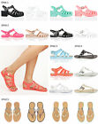 Womens ladies block heel flat buckle summer retro jelly jellies sandals size