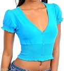 Turquoise Sexy Smocked Princess Sleeve Low Cut Cleavage Crop Stretchy Layer Top