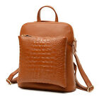 Women 's Elegant Split Leather Crocodile Grain Totes/backpack
