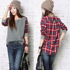 Women Plaid Checked Long Sleeve Casual Loose Tee Shirt Top Blouse Jumper UK 8-26