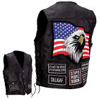Genuine Buffalo Leather Concealed Carry Vest with Biker Patches