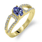 1.43 Ct Oval Natural Tanzanite Blue Mystic Topaz 18K Yellow Gold Ring