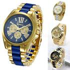 Luxury Men Classic Stainless Steel Gold Dial Quartz Analog Bangle Wrist Watch