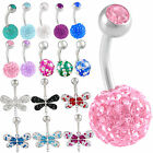 ferido crystal belly bar button navel ring body piercing 9JDU-CHOOSE COLOR&STYLE