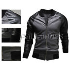 HOT SALE~ Mens Coat Varsity Letterman College Baseball Jacket PU Leather Sleeves