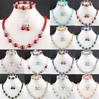 14 Color Imitation Glass Pearl Round Beads Bracelet & Necklace & Earrings 1 Set