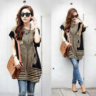 Fashion Women Slouchy T-shirt Striped Pattern Short Batwing Sleeve Loose Shirt