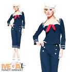 Pin Up Sailor + Hat Ladies Fancy Dress Navy Military Uniform Womens Costume New