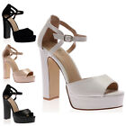 New Womens Platform Sole Ladies Strappy Ankle Buckle Block Heel Shoes Size 3-8