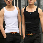 New Mens Casual Gym Muscle Sports Fitted Ribbed Cotton Tank Top Vests Singlet
