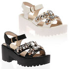 NEW WOMENS SUMMER PLATFORM LADIES HEELED CLEATED PLATFORM SANDALS SHOES SIZE 3-8