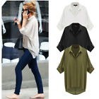 Womens Casual 3/4 Sleeve Down Collar Oversize Loose Chiffon T Shirt Top Blouse