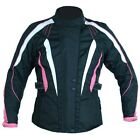 New Ladies CE Armoured Waterproof Motorcycle Jacket Black / White / Pink