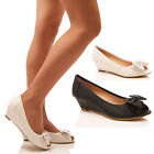 LADIES WOMEN LOW WEDGES PEEP TOE SUMMER DIAMANTE BOW COMFORT HOLIDAY SHOES SIZE