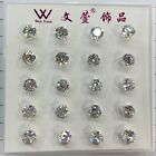 Wholesale 40pcs Charming Round White Crystal Silver Stud Earrings 4mm/6mm/8mme